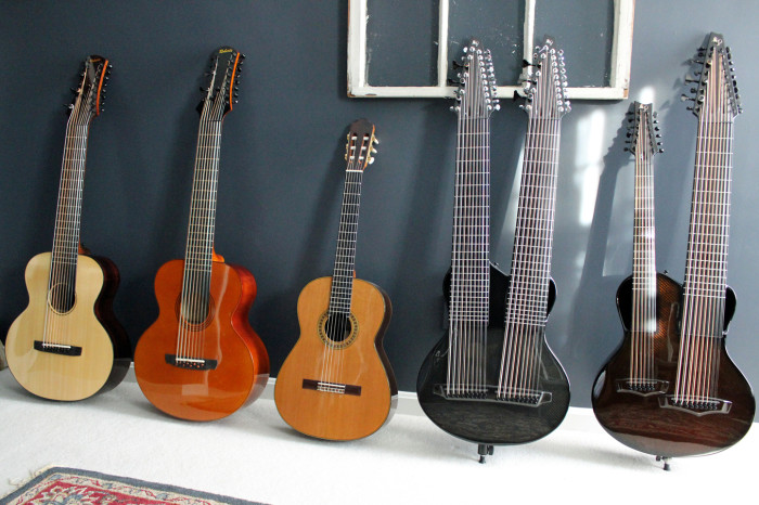 Kevin Kastning's KK Series custom stringed instruments and his Cervantes Rodriguez classical guitar.