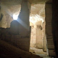 The Bazda Caves are actually immense quarries dating back to at least the 13th Century. The stone was used for construction in Urfa, Harran, and surrounding areas.