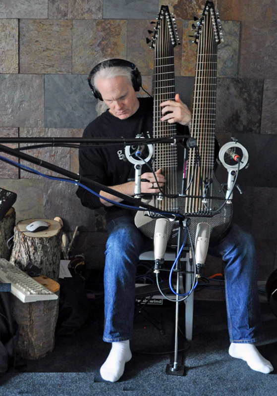Kevin Kastning recording the 36-string Double Contraguitar.