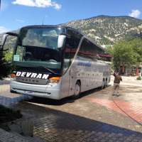 The bus from Cappadocia to Sanliurfa being cleaned during the lunch break.