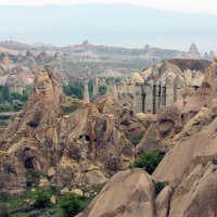 Hoodoos viewed from an areal balloon over Göreme