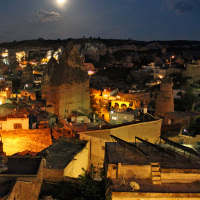 Full moon rising over Göreme on the night of my arrival
