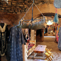 Goods for sale in a tourist shop in Harran.