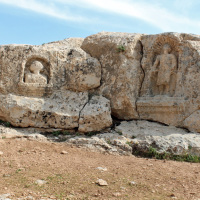 Soğmatar, an ancient center for the worship of the Moon god Sin. There are seven hills around the village with shrines for the Moon, the Sun, and the five planets. In the village is a cave-temple with large figures and inscriptions carved in the walls.