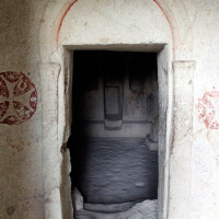 Entrance to an ancient church at the Zelve Open Air Museum in Göreme