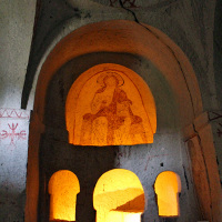 Ancient church at the Zelve Open Air Museum in Göreme