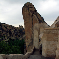 Cliffside passageway at the Zelve Open Air Museum in Göreme