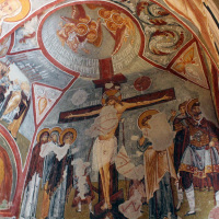 Iconography inside an ancient church at the Zelve Open Air Museum in Göreme