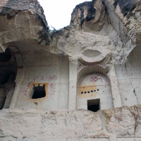 Outside an ancient church at the Zelve Open Air Museum in Göreme